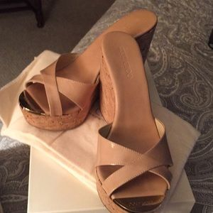 Jimmy Choo Patent Leather Nude Sandals, size 8 1/2